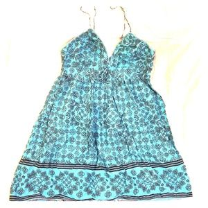 L.e.i. Turquoise & Black Cotton Sundress